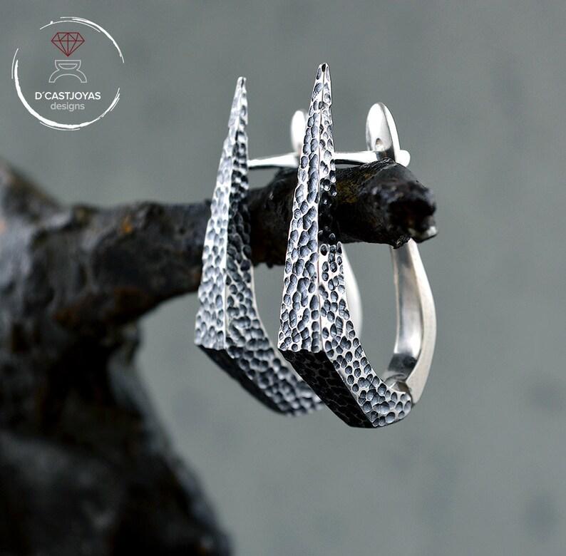 a880734735d7 Aros de plata daga piedra Pendiente artesanal Pendientes