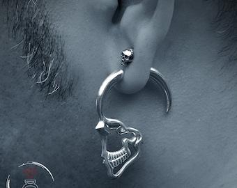 Sterling silver profile Skull earrings