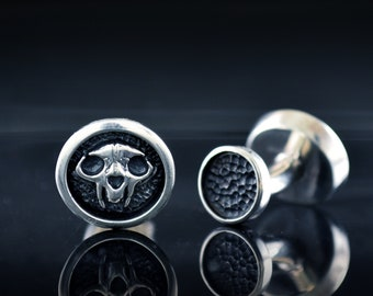 Silver skull cat cufflinks with hammered textures, Cool gift for lover cats