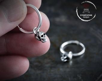Silver tiny skull hoop earrings, Dangle skulls for men and women