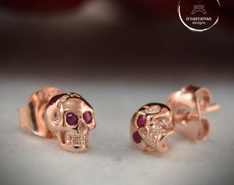 Rose gold skull earrings, Solid 14k gold and 18k gold with natural stones