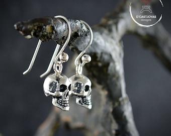 Silver skull dangle earrings, Skull earring for men and women