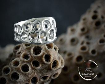 Silver wide rustic band ring with holes, Cool silver alliances for men