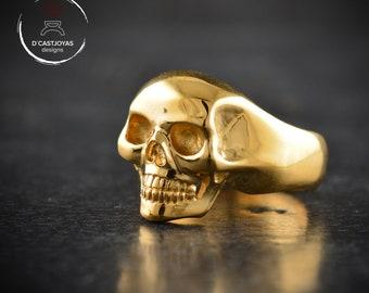 Gold plated silver skull ring, Memento Mori skull