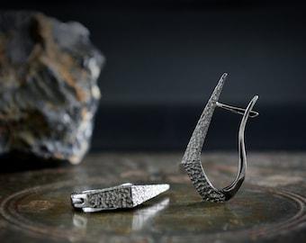 Black rhodium  dagger hoop earrings hand made in Sterling silver,  Punk earrings