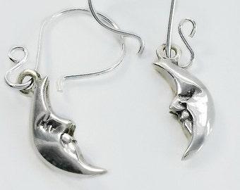 Moon Earrings - Smiling Moon Earrings - Sleeping Moon Earrings - Crescent Moon Silver Earrings - Sterling Silver Moon Earrings