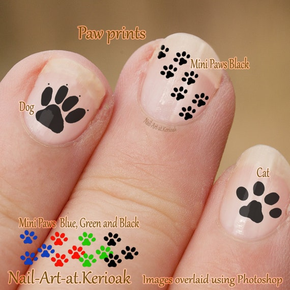 Pawprint Nail Art Dog And Cat Nail Art Stickers Fingernail Etsy