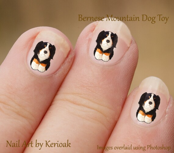 Bernese Mountain Dog Nail Art Stickers Fingernail Stickers Etsy