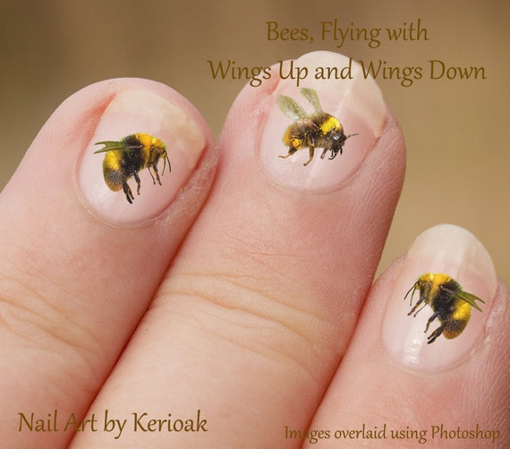 Bumble Bee Wings Up And Down Insect Nail Art Stickers Bee Etsy