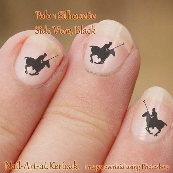 Polo Pony Nail Art 1 Black Running Side View Fingernail Etsy