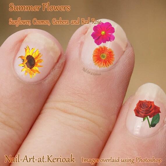 Summer Flower Nail Art Cosmos Rose Gerber Sunflower Etsy
