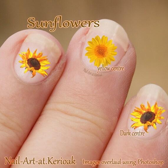 Sunflower Nail Art Flower Nail Art Stickers Fingernail Etsy