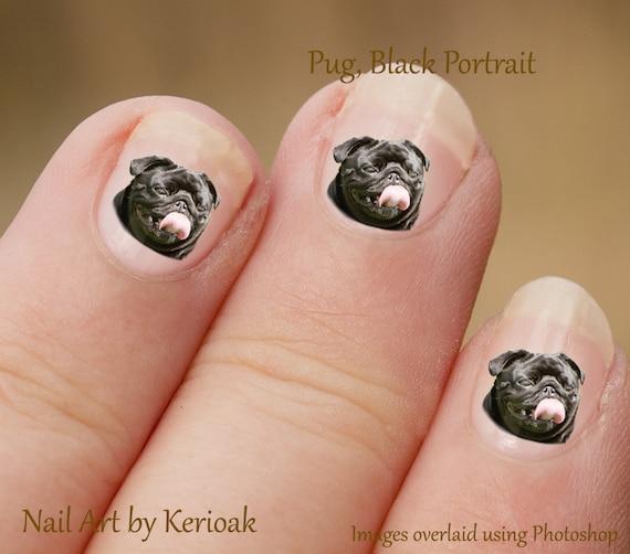 Black Pug Nail Art Stickers Fingernail Stickers Dog