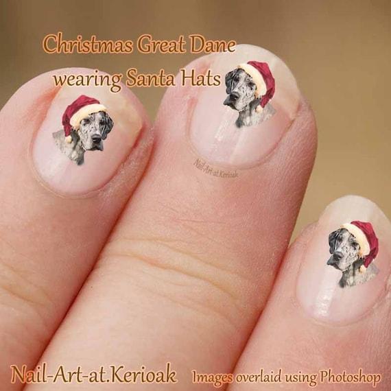 image 0 - Christmas Great Dane Nail Art Dog Nail Art Stickers Dog Etsy