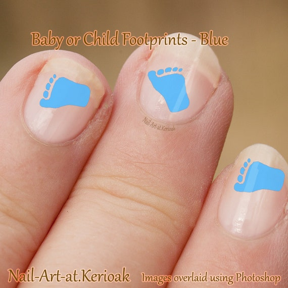 Baby Blue Footprint Nail Art Foot Baby Chld Stickers Etsy