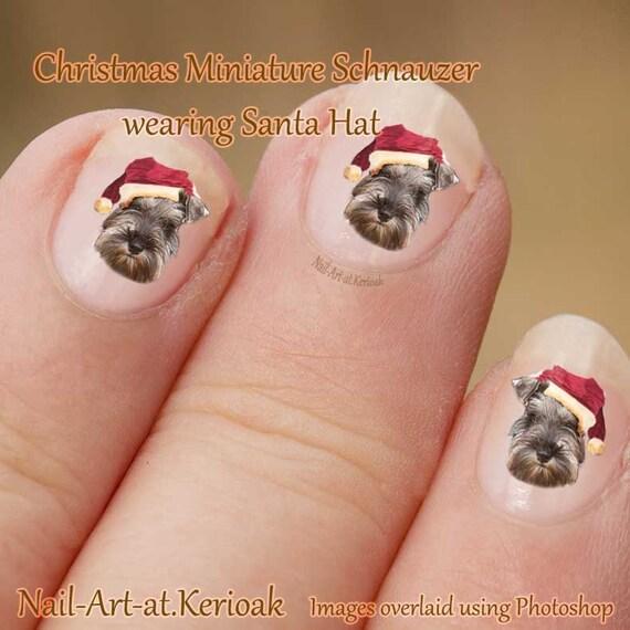 Christmas Miniature Schnauzer Nail Art Dog Nail Art Stickers Etsy