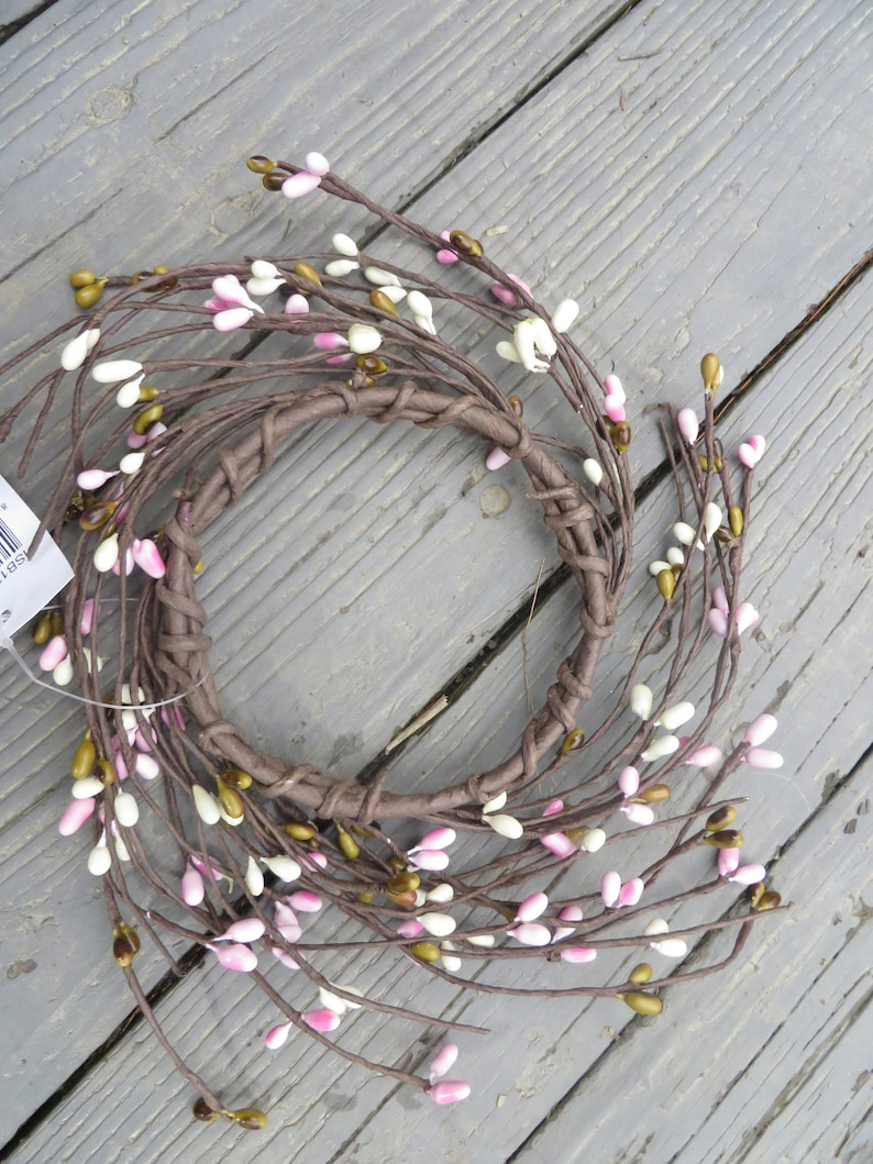 CHERRY BLOSSOM PIP Berry Candle Ring         Spring Colors Candle Ring or Small Pip Wreath