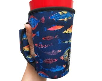 Neon Fish 16oz PINT Glass / Medium Fountain Drinks and Tumbler Handlers™ Patent Pending