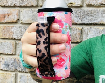 Summer Blooms with Leopard 16oz Energy Drink Can Handler™ Patent Pending