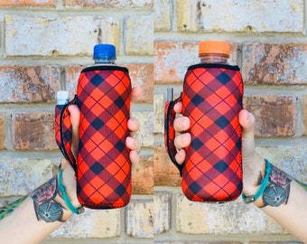 Red Plaid Water Bottle Handler With Pocket Cooler Insulator Fits bottles tallboy pocket handle with chapstick holder