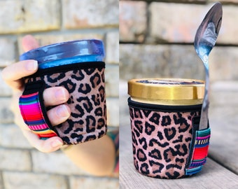 Leopard with Serape Pint Size Ice Cream Handler™  Handle with Pocket Patent Pending Pint Size Ice Cream Holder