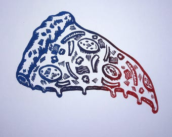 Pizza Time- Color Variant Linocut