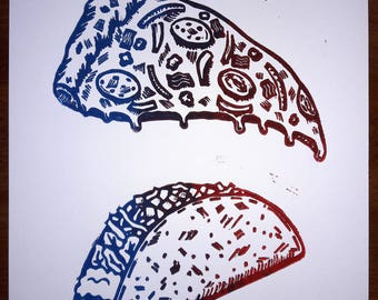 Pizza/Taco Time- Color Variant Linocut
