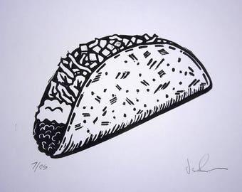 Taco Time- Linocut