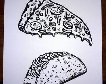 Pizza/Taco Time-Linocut