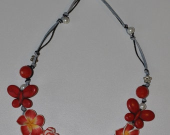 Butterfly Necklace and Red Roses flowers