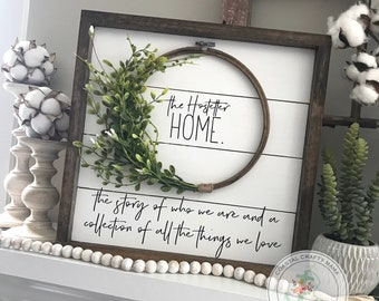 Shiplap Sign, Shiplap Wreath sign, Framed Shiplap Sign, Fixer Upper Sign, Farmhouse Sign, Farmhouse Decor, Home Wreath Sign, Home Sign 16""