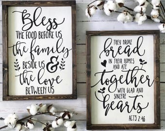 Bless the Food Before Us Wood Sign Set, Thanksgiving signs, Fall signs, Rustic Wood Sign, Kitchen Sign, Dining Room Sign, Farmhouse Sign
