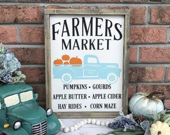 Fall Farmers Market Wood Sign, Vintage Truck Sign, Pumpkin Sign, Fall Sign, Fall Farmhouse Sign, Fall Decor, Farmers Market Sign, Truck Sign