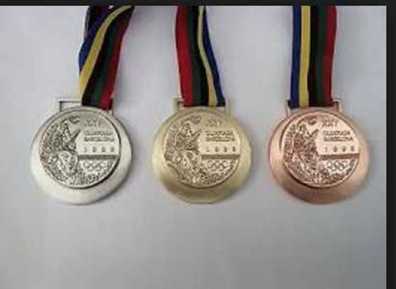 1100c928e6a62 Barcelona 1992 Olympic Medals Set with Ribbons   Display