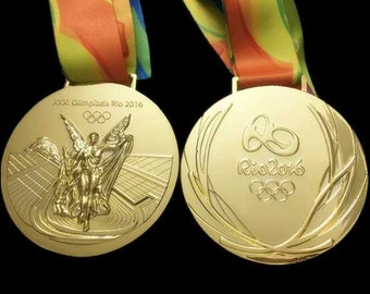 Rio 2016 Olympic 'Gold' Medal & Ribbon with Display Stands !!!