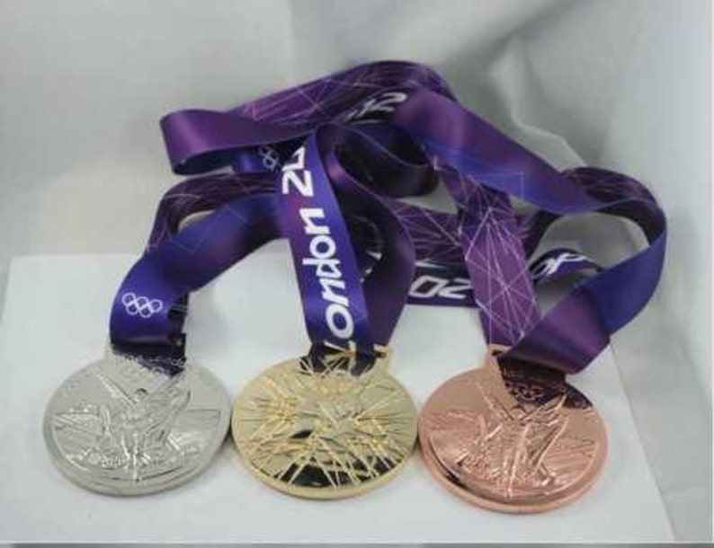 London 2012 0lympic SilverGold Bronze medals with Silk Ribbons