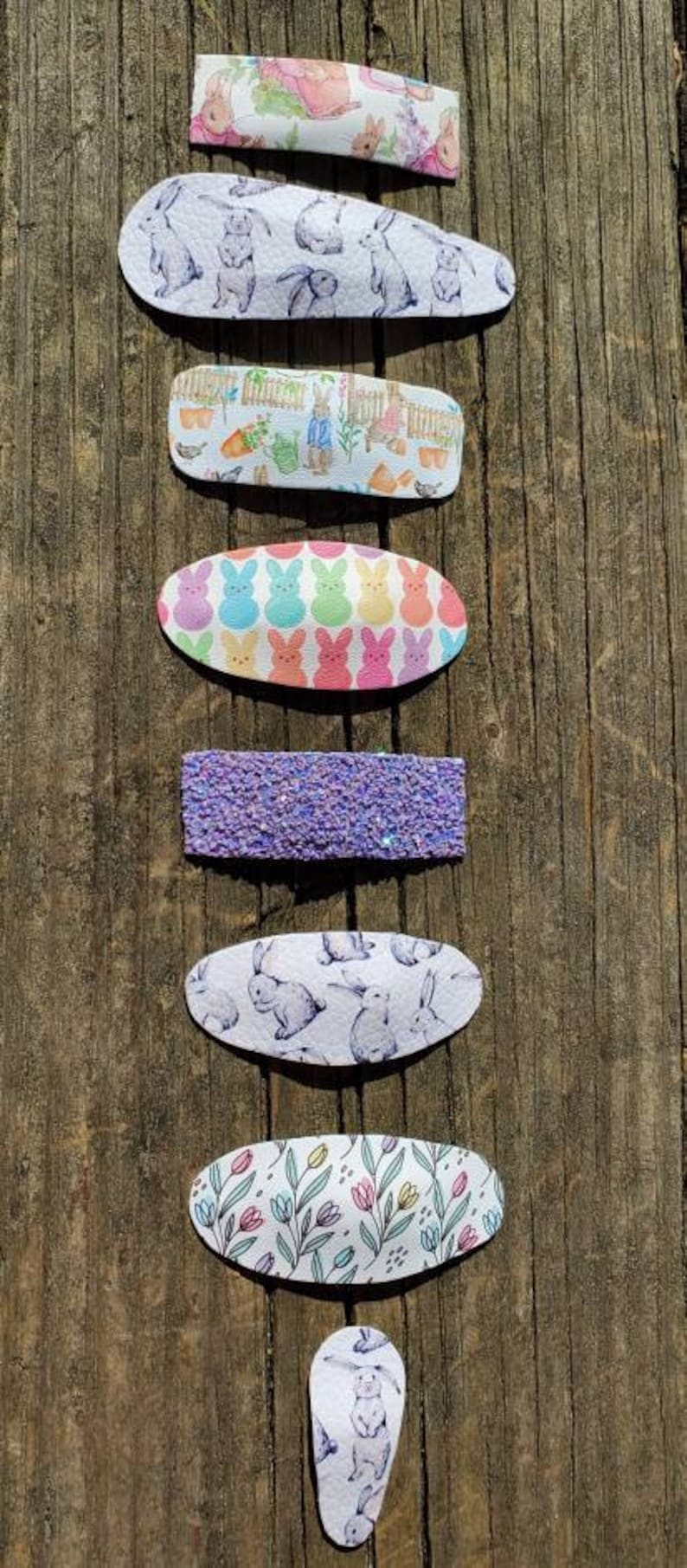 Easter /& Spring Vegan Leather Snap Clips