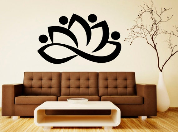 Lotus Wall Decal Vinyl Stickers Beautiful Flower Art Bedroom Etsy - Beautiful-wall-stickers-to-decorate-your-house