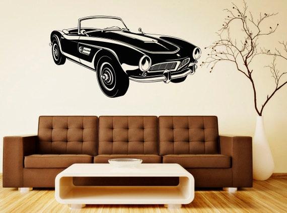 Retro Car Wall Decal Wall Vinyl Sticker Classic Vintage Car Home Interior  Removable Bedroom Decor (11rcr)