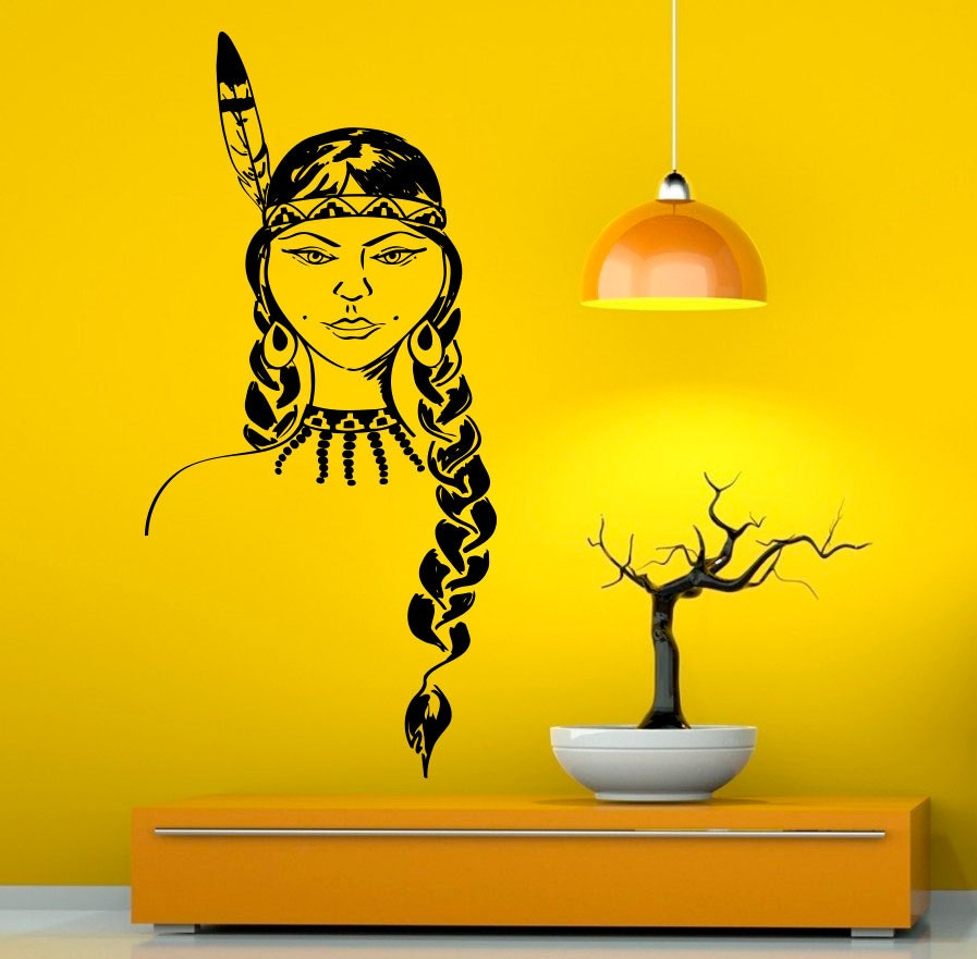 Native American Girl Wall Decal Vinyl Stickers American Indian