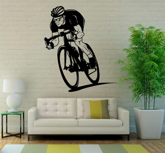 bicycle wall decal wall vinyl sticker sport bike home interior | etsy