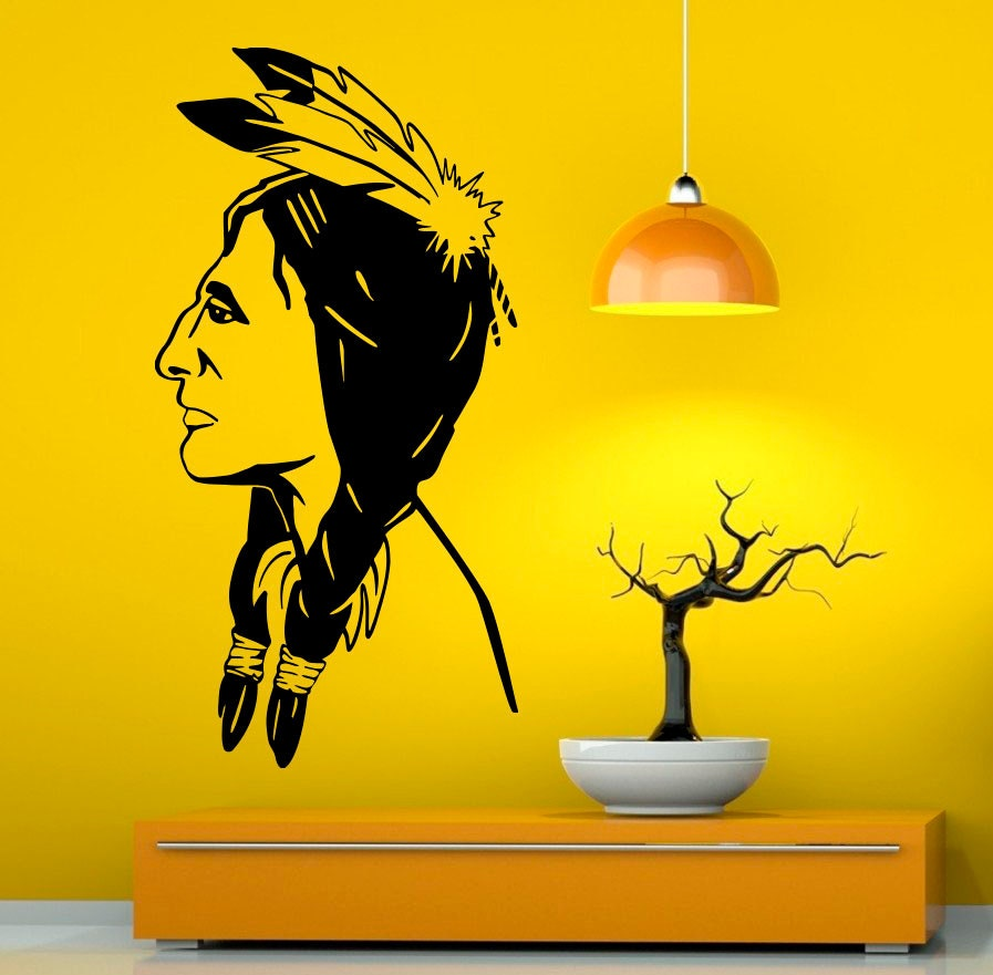 Native American Wall Decal Vinyl Stickers American Indian   Etsy