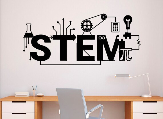 stem wall decal vinyl sticker science technology art design | etsy