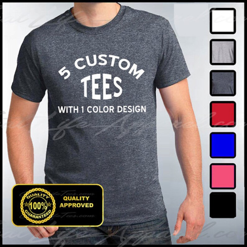 11685b1d Custom Shirts 5 Custom T-shirts Customize Your Tees   Etsy