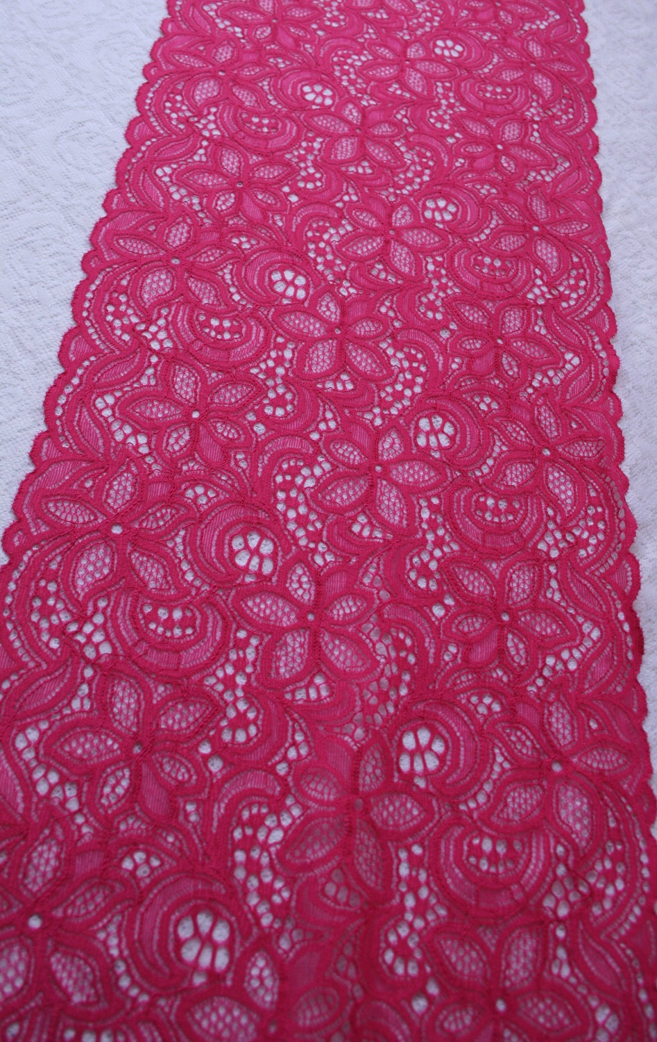 Bright Pink lace trim Pink lace fabric Pink Lace Wide   Etsy