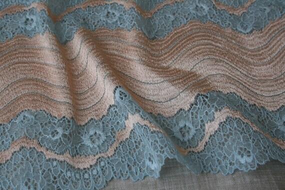 faa87e5179 Light blue stretch lace fabric 7 wide gold lace trim by