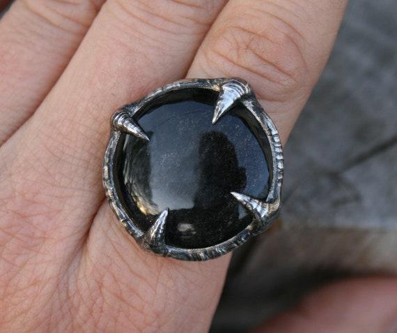 mejores zapatillas de deporte e2ec6 bafa0 anillo de obsidiana, anillo de sello, sello de obsidiana de plata, anillo  de hombres o mujeres, anillo de cobre pagano negro para hombre de la banda  ...