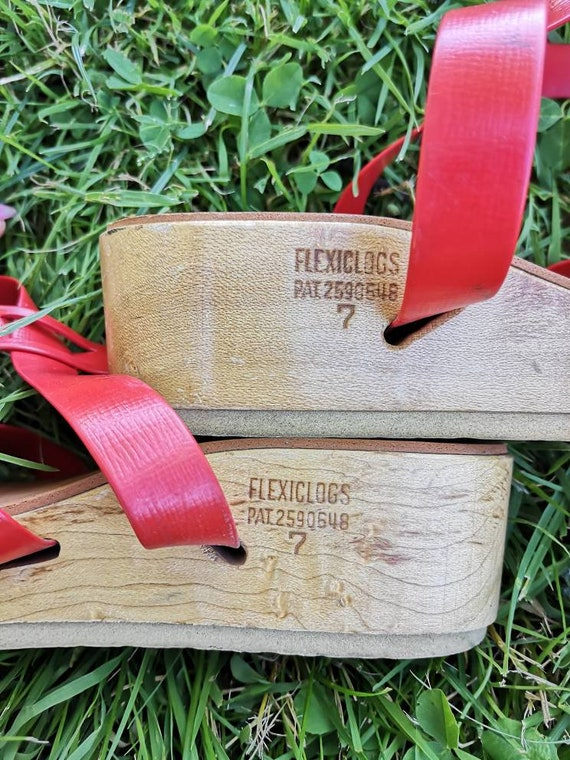 40s Flexiclogs 1940s RARE Sandals in Red! - image 2
