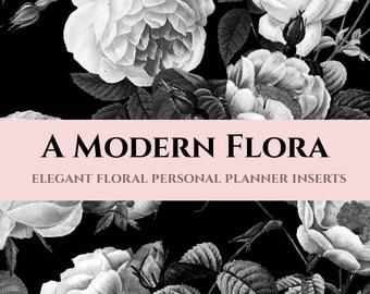 Editable Printable Personal Planner Inserts (Black & White Floral) - 6 customizable layouts for Filofax, Kikki K, Dokibook, Wellesley