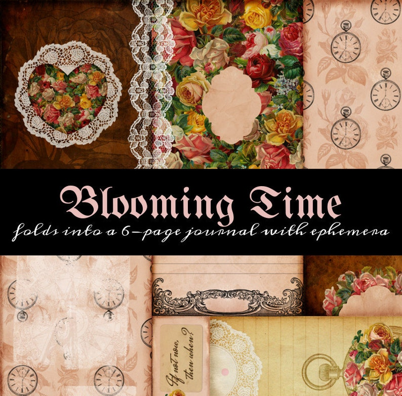 One Page Journal  Blooming Time 3  great for junk journals image 0